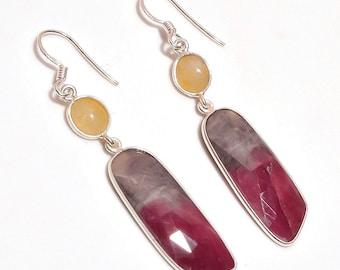 Ruby Earrings, July Birthstone, Natural Sapphire, Ruby Earrings, 925 Sterling Silver Earrings, Dangle Hook Earrings, pinkish-red gemstone