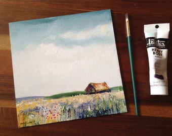 Wheatfield and Barn, abstract Landscape, Original acrylic Art/Artwork impressionist/expressive painting of fields, clouds, meadow, flowers