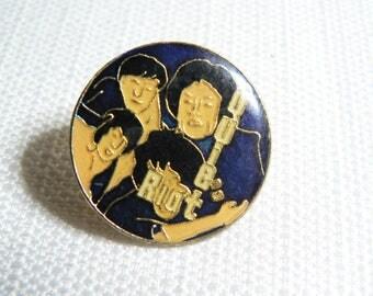 Vintage 80s Quiet Riot Blue Enamel Pin / Button / Badge