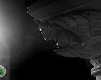 Angel facing the light A4 photography print black and white Church