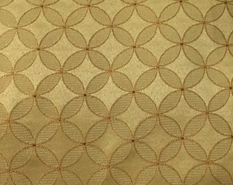 Yellow Gold and Red Dot Pinwheel - Upholstery Fabric By The Yard