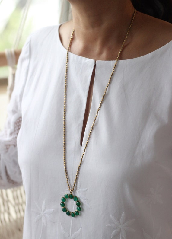 Beautiful Hand Knotted Golden Nugget Space Beads Necklace with Natural Green Gemstone Pendant