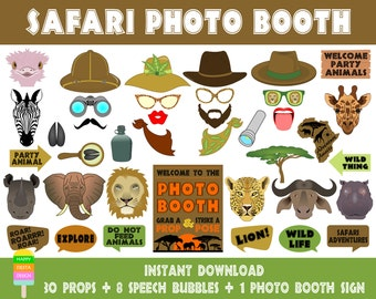 PRINTABLE Safari Photo Booth Props–Safari Photo Booth Sign-Lion,Leopard,Elephant,Hippo,Safari Animals Props-Africa Props-Instant Download