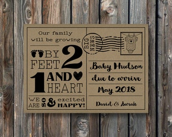 PRINTABLE Pregnancy Announcement Card Sign–Rustic Kraft Pregnancy Announcement Sign–Pregnancy Reveal Card-Our Family Will Be Growing-PA20