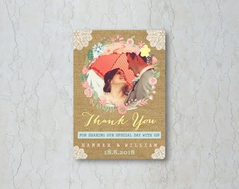 Hessian Floral Thank You Card