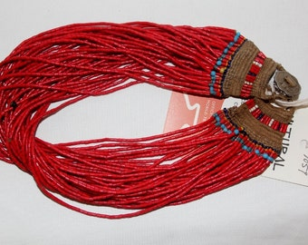 Glass Bead Necklace : Naga Small Red Multi-strand Glass Bead Necklace, with Macrame Closure #1059