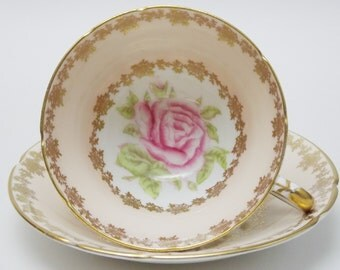 Stanley Large Pink Rose Gold Flower Peach Tea Cup and Saucer Vintage Fine Bone China Made in England 7
