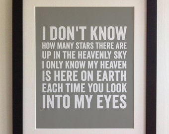 FRAMED Lyrics Print - Michael Jackson, Maybe Tomorrow - 20 Colours options, Black/White Frame, Wedding, Anniversary, Valentines, Picture