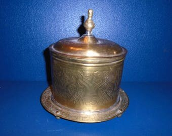 Indian Brass Container. India.  India Brass.  Brass from India. Stash Can. vintage brass.