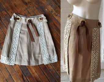 Valentino Vintage Linen Skirt with Beading