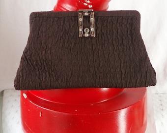 Brown Flapper Clutch 1930's Purse Crinkle Fabric Change Purse Rhinestone Clasp .  Vintage Evening Bag .
