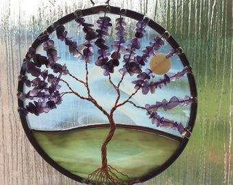Amethyst tree of life suncatcher