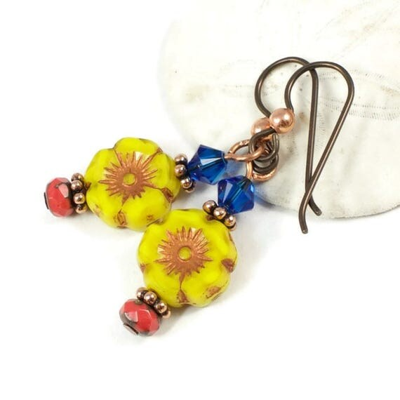 Yellow Flower Earrings for Women | Floral Jewelry For Summer | Colorful Earrings For Her | Earrings for Sensitive Ears | Solana Kai Designs