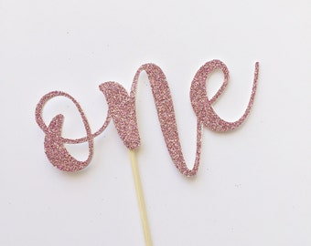 One Cake Topper-Girl Birthday Decor-Pink First Birthday Cake Topper-Glitter Cake Topper-Sparkle Cake Topper-Party Supplies-Smash Cake Topper