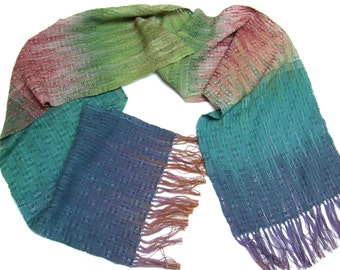 Hand dyed hand woven cotton scarf lace scarf holiday gifts hand painted fabric hand weaving womens scarves blue green cotton scarf