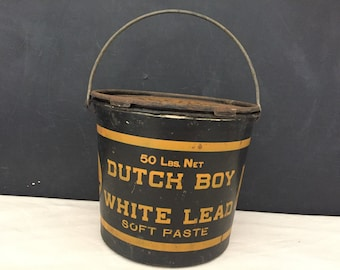 Dutch Boy Paint Can - Vintage Empty Lead Paint Can with Lid - Metal 1 Gallon Can - Display - Painter - Prop - Artist - Storage Tin - Bucket