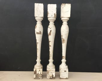 Salvage Wood Pillar - Architectural Salvage Post - Wooden Pillar - Repurpose - Spindle - Prop - Fretwork - Porch Post - Lot of 3