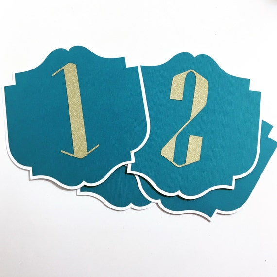 Gold Glitter Art Deco Table Numbers - Turquoise and Gold - Old Hollywood - Gatsby Wedding