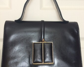 1960's Vintage Black Leather Kelly Style Bag Royal Fernera Collection by Mastercraft Leather Goods  Ltd. of Montreal, Canada
