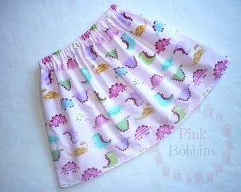 Dinosaur skirt - pink dino skirt - girly dinosaurs - toddler girl's/baby girls dinosaur outfit - girls tomboy clothes/clothing *0-6 years*