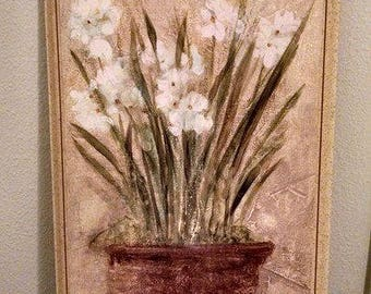 White Narcissus Garden Wall Art