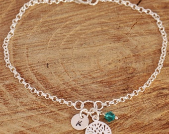 Sterling Silver Personalised Tree of Life Bracelet with Initial Tag and Birthstone Present for Mother / Wife/Family Members Comes Gift Box