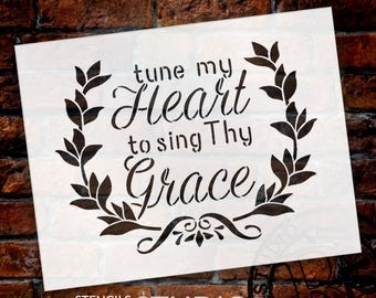 Tune My Heart - Wreath - Word Art Stencil - Select Size - STCL1888 - by StudioR12