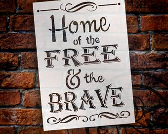 "Home of the Free - Word Stencil - 10"" x 14"" - STCL758_2"