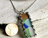 Real Beach Glass Pendant, Soldered Glass Pendant, Beach Glass Jewelry, Sea Glass Necklace, Colorful Mosaic Pendant, Great Lakes Beach Glass