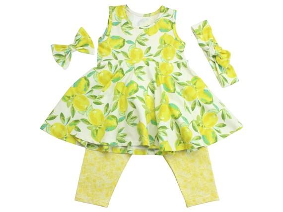 Lemon Outfit Top Shirt Baby Toddler Twirly Shirt Tunic Dress Lemon Summer Vintage Lemons Yellow Floral Capri Leggings Top Knot Headband Bow