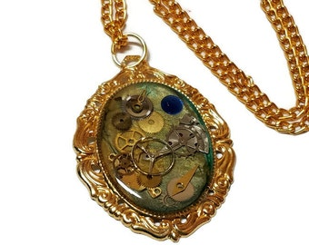 Steampunk Gears Necklace with Blue and Gold Paint,Blue and Gold Painted Steampunk Necklace