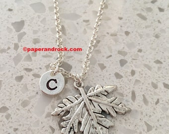 KIDS SIZE - Maple leaf initial necklace, maple leaf jewelry, Canadian jewelry, leaf necklace, Canada necklace, silver maple leaf necklace