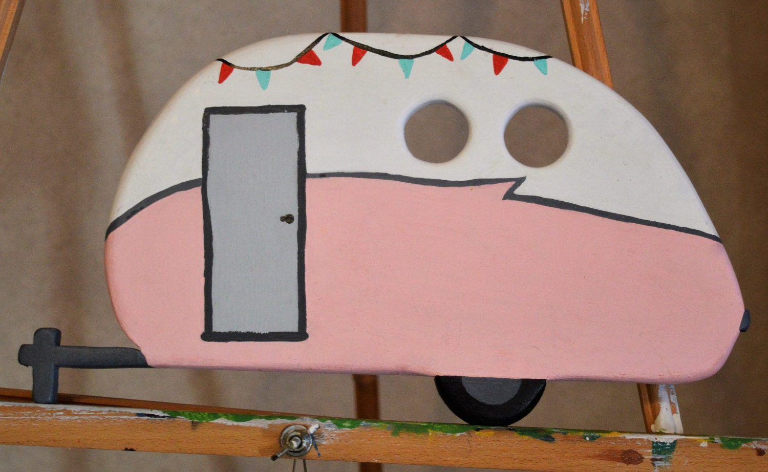 Hand Painted Camper Wood Cut Out Wooden Shapes Glamping