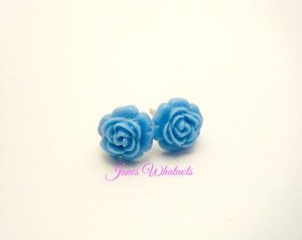 Blue Rose Earrings - Post Earrings - Resin Rose - RE37