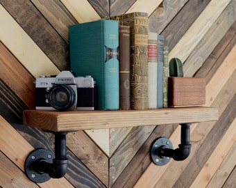 Industrial Shelf Iron Pipe Wooden Hanging Floating Wall Mount Shelf -- Wooden Wall Ledge
