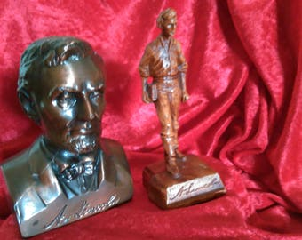 Abe Lincoln Statues - a Young Abe off to School and a Brass Bank from the 1950s