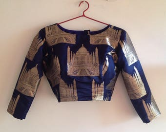Navy blue brocade crop top with Taj Mahal design