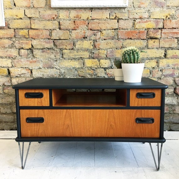Upcycled vintage retro Gplan TV cabinet stand industrial hairpin legs