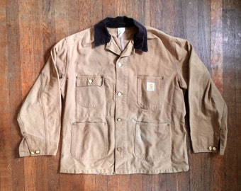 Vintage Mens 1980s CARHARTT Duck Canvas Made in USA Work JACKET Coat Size Large 44 Hipster Levis Lee