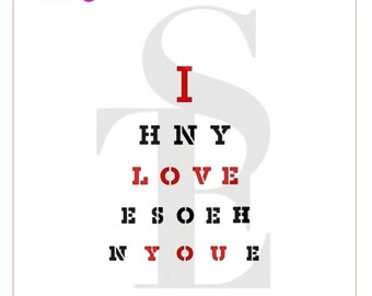 I Love You Eye Chart Stencil