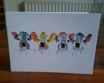 Blank cards-greetings cards-animal birthday cards-thank you cards-notelets-teenage birthday cards-notelets= cards for friends-cows on cards