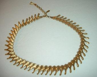 Vintage Monet Brushed Goldtone Choker Necklace Free US Shipping