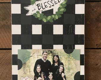 BLESSED String Frame Adorned with Black and White Check and A Magnolia Wreath