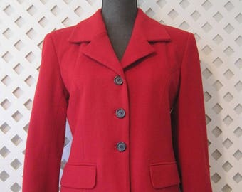 J PERCY For MARVIN RICHARDS Jacket Size 4 Womens Blazer Coat Wool Blend Red WJ239