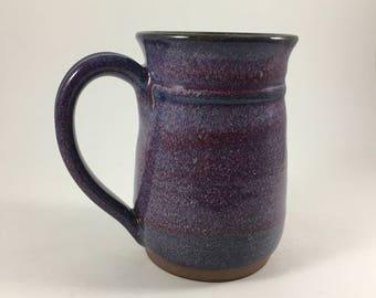 Ceramic Handmade Mug, Stoneware mug, Extra Large Coffee cup, Purple Mug, Pottery mug, Ceramic mug, 17 Ounce mug, Ready to Ship