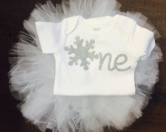 ONE Glitter Snowflake | Girls first Birthday