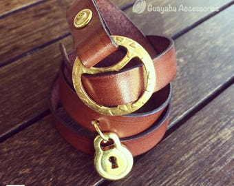 Leather bracelet brown. Brown bracelet. Leather Bracelet with said in gold plated 24 k