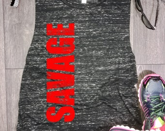 savage womens muscle tank, womens flowy muscle tank, muscle tank top, muscle workout tank, workout tank, savage tank, best workout tank