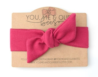Dark Pink Fabric Headwrap; Dark Raspberry Pink Colored Stretch Fabric Baby Headwrap; Top Knot Baby Headband; Headwrap; Baby Headwrap