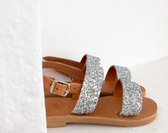 sparkle silver girl sandals/leather handmade/Aelia / baby sandals/ Greek sandals /two straps/ silver